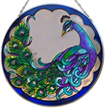 """Bits and Pieces Peacock Art Glass Suncatcher - The Majestic Peacock is Captured in an Artistic suncatcher - A Striking Gift 9-7/8"""" in Diameter"""