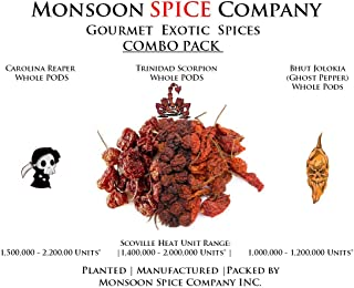 Monsoon Spice Company Carolina Reapers Dry Whole Pepper Pods Hottest Peppers in the World | Free Domestic Shipping (Combo Deals, Carolina + Scorpion + Ghost Pepper (6 PODS EACH))