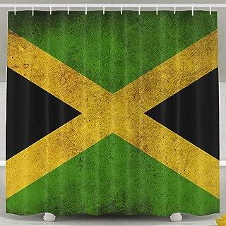 Mesllings Decorations Shower Curtains - Vintage Jamaican Flag Bath Curtain - Polyester Fabric Bathroom Decor Set with Hooks - 60