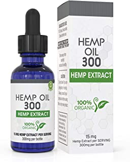 Hemp Oil for Pain, Anxiety & Stress Relief - 300mg - 100% Organic Hemp Extract Drops - Natural Anti-Inflammatory, Joint Support Helps with Better Sleep & Mood - Grown and Made in USA - with MCT Oil