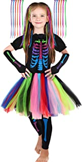 SATINIOR Girl's Funky Skeleton Bones Costume Set with 12 Pieces Hair Extensions for Halloween (Large(10-12yr))