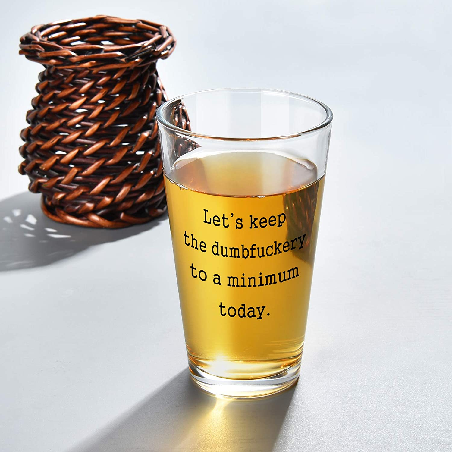 Thanksgiving Best Gift Ideas for Friends Men Funny Beer Glass Lets Keep to A Minimum Today Beer Pint Glass with Funny Sayings Women Festival Birthday Coworkers Unique Gift for Christmas