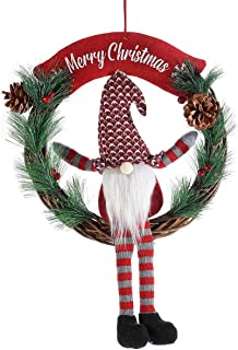 Ghirlandanatalizia con scrittaMerry Christmas da appendere con gnomo gambe lunghe in stoffa. handmade made in italy idea...