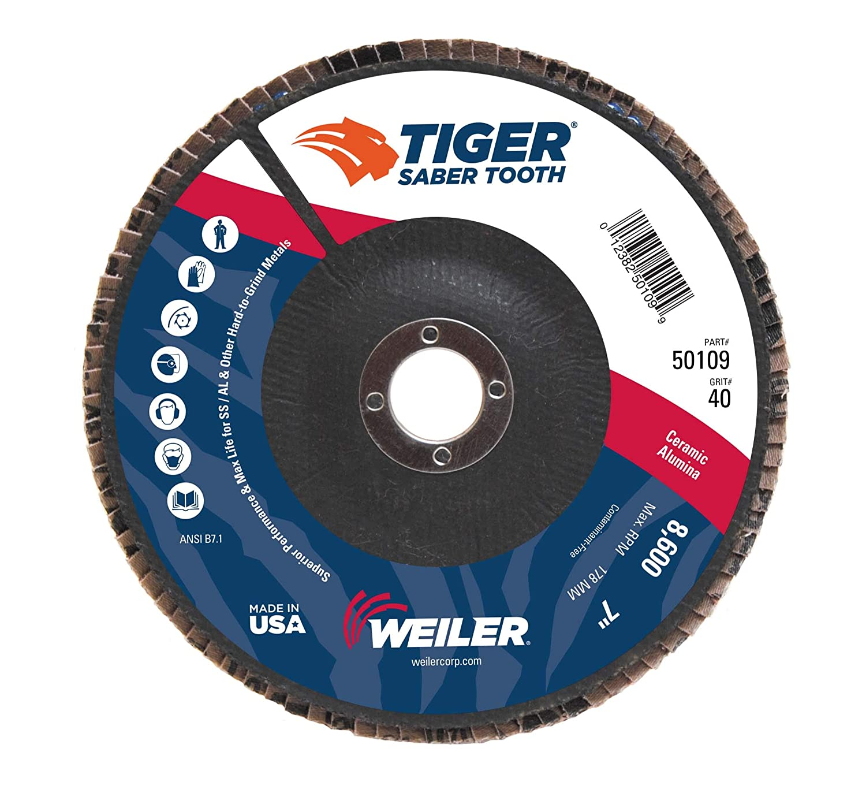4-1//2 Diameter Ceramic Weiler 50100 Saber Tooth 7//8 Arbor 36 Grit Angled Abrasive Flap Disc Phenolic Backing