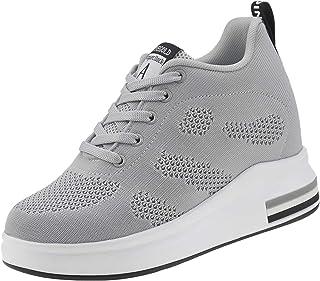 حذاء رياضي برقبة عالية للنساء من TQGOLD مزود بنعل سميك سميك مخفي حذاء مشي رياضي عالي الكعب شبكي عصري