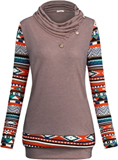 Faddare Women's Hooded Sweatshirts Long Sleeve 2 in 1 Checked Pullover Tops with Pockets