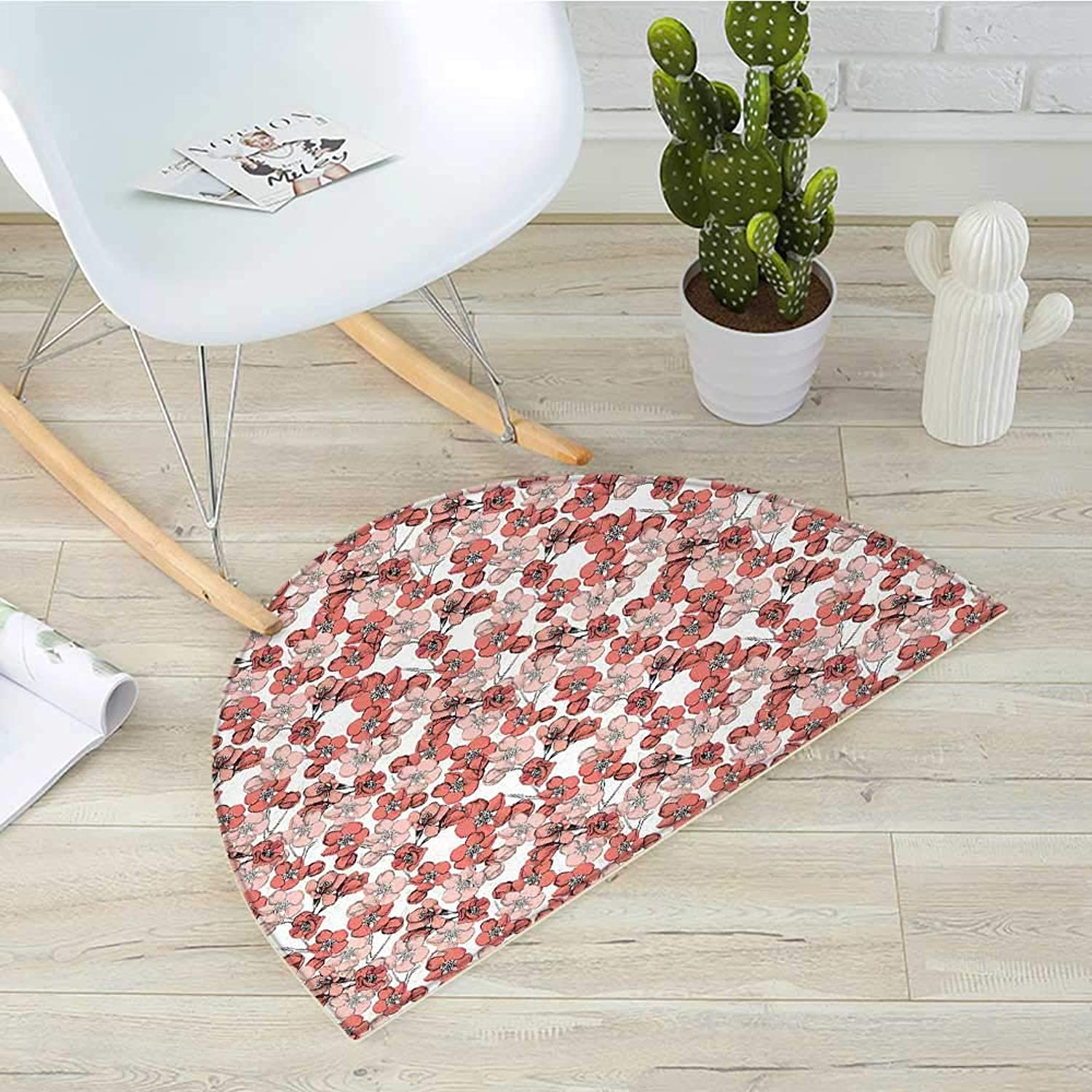 Cherry Blossom Semicircular CushionSpring Season Floral Hand Drawn Style Ornament Japanese Asian Nature Entry Door Mat H 39.3  xD 59  Coral bluesh White