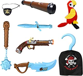 Liberty Imports Kids Pirate Costume Accessories Role Play Set with Glow in The Dark Weapons, Pistol, Sword, Hook, and Parrot Shoulder Prop