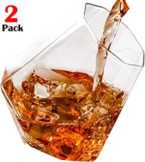 Diamond Whiskey Glasses, Rock Glasses Lowball Glass Old Fashioned Glass Premium Designer Tumblers for Whisky, Bourbon, Scotch, 10-Ounces - Set of 2