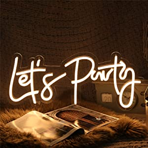 Let's Party Neon Sign for Wall Decor, with Dimmable Switch, Reusable Neon Light Sign for Bachelorette Party, Engagement Party, Birthday Party,Wedding, Warm White 23x10Inches (Power Adapter Included)