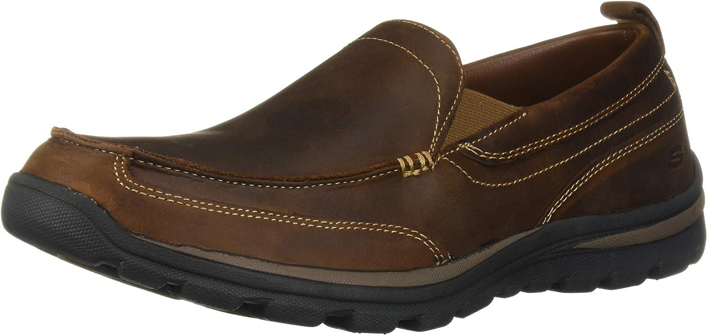 Skechers USA Mens Superior Gains Slip-On Loafer, Dark Brown, 11 XW US (11 EW, Dark Brown)