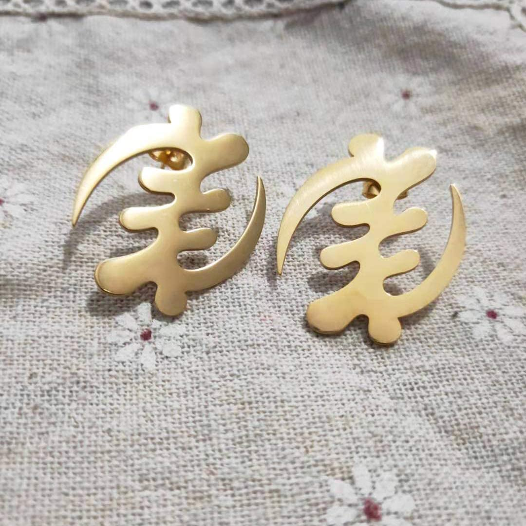 Exaggerated African Symbol in Afrcan Map Earrings Gold Color Stainless Steel Comb with Symbol Ethnic Jewelry