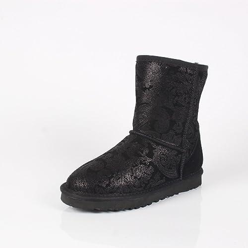 DYF Chaussures Bottes vérin central antidérapant de grande taille à fond plat étanche,noir Phoenix,41