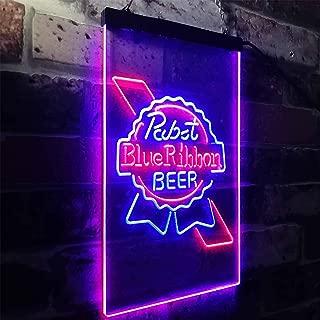 zusme Larger Pabst Blue Ribbon Bar Beer Novelty LED Neon Sign Blue + Red W8 x H12