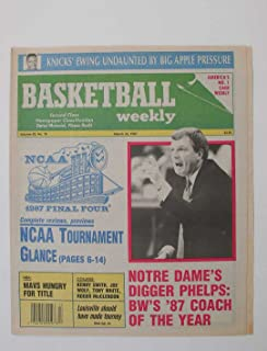 MARCH 30,1987 BASKETBALL WEEKLY NOTRE DAME PHELPS COACH NEW YORK KNICKS EWING