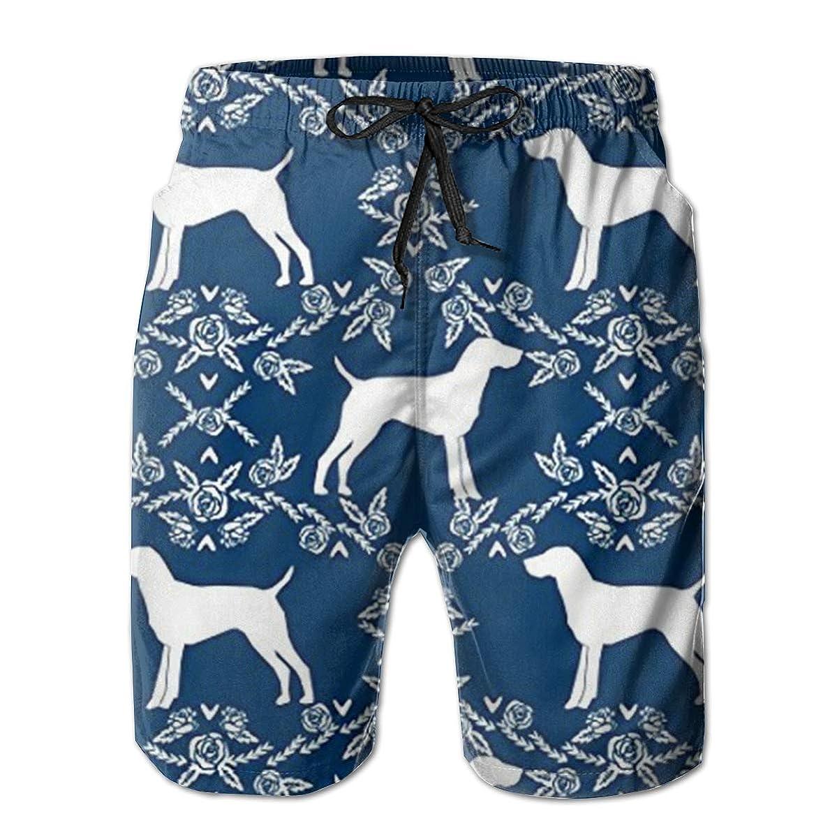Jiqnajn6 German Shorthair Pointer Dog Men's Swim Trunks Quick Dry Summer Surf Beach Board Shorts with Mesh Lining/Side Pockets