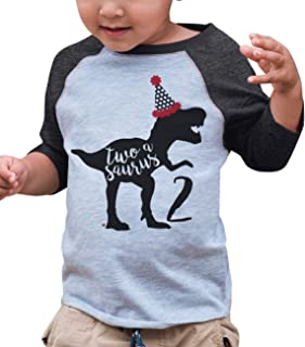 Two Birthday Dinosaur Grey Baseball Tee