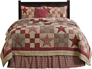 The BitLoom Co. Primitive Country, Star Patch Red Queen 5 Piece Quilt Set