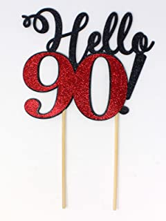 All About Details Hello 90! Cake Topper,1pc, 90th Birthday, Party Decor, Glitter Topper Multi CATHE90