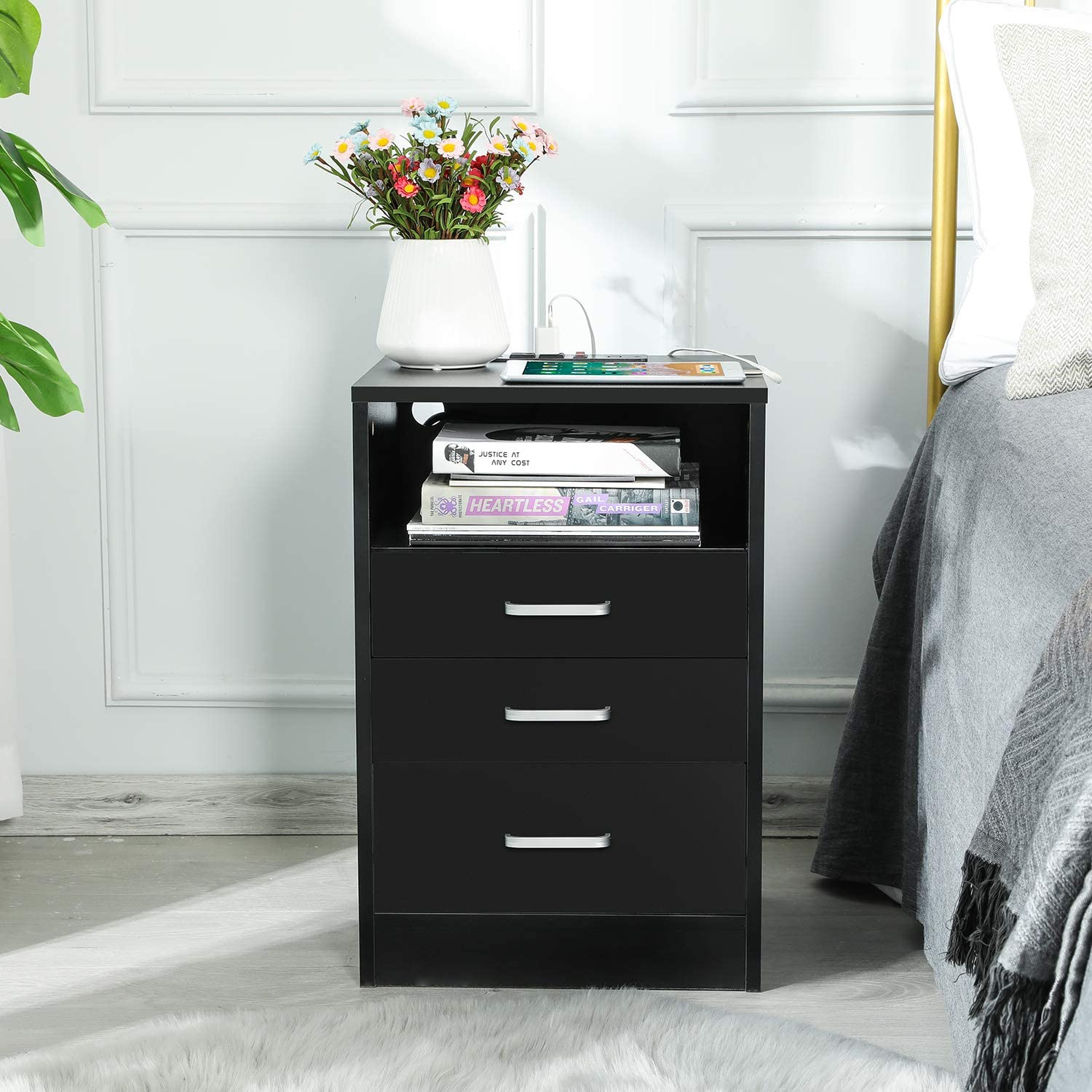 Buy Adorneve Black Nightstand 3 Drawers With Usb Port Bedroom End Table Side Table Wooden Sofa Side Stand Cabinet With Sliding Drawer Open Storage Online In Poland B08qrnk1dt