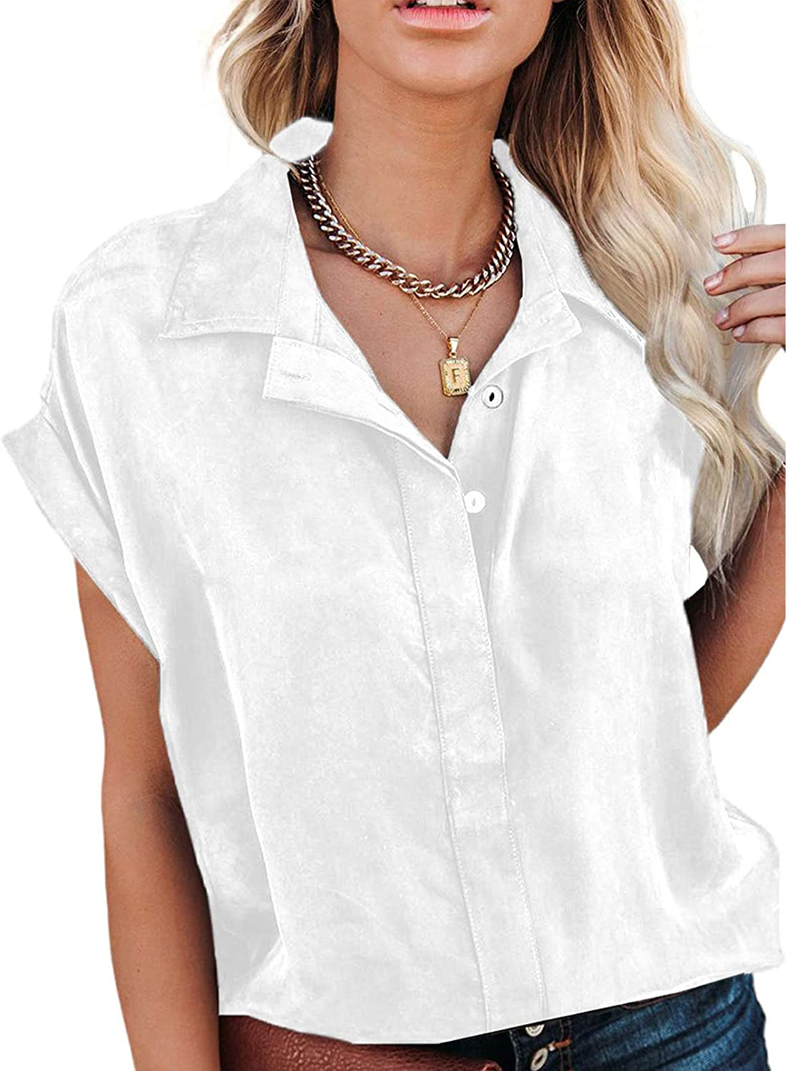 Sidefeel Women Printed V Neck Cuffed Sleeve Shirt Loose Casual Blouse Tops