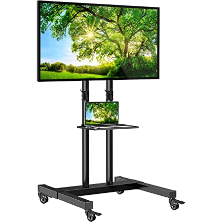 Mobile TV Stand on Wheels for 32-60 Inch Flat/Curved Panel Screens TVs - Height Adjustable Floor Trolley Stand Holds up to 99lbs - Tilt Rolling TV Cart with Shelf Max VESA 600x400mm- PSTVMC03