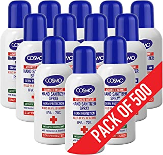 Cosmo Hand Sanitizer Spray - 100ml - Pack of 500-70% IPA - Advanced Instant Antiseptic & Disinfectant Sprays – Moisturizer...