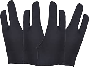 4 Pack Artist Anti-fouling Glove with Two Fingers for Digital Artists, Prevents Smudges for Light Box Graphic Tablet Pen Display iPad Pro Pencil Black Drawing Art Creation (Medium)