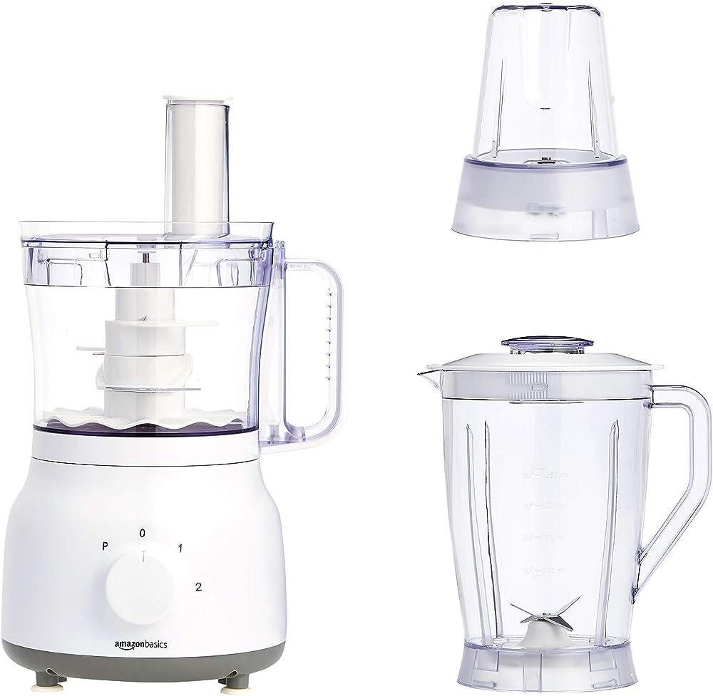 Amazonbasics - robot e frullatore da cucina,ciotola da 2,4 l e caraffa per frullatore da 1,25 l MJ-FP60D1