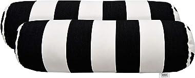 "RSH Décor Set of 2 Indoor Outdoor Decorative Bolster Neckroll Throw Pillows Sunbrella Cabana Classic (20"" x 6"")"
