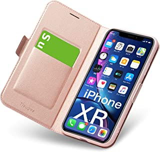 iphone XR ケース 手帳型 薄型 スマホカバー PUレザー 全面保護 耐衝撃 カード収納 マグネット付き ワイヤレス充電対応 スタンド機能 シンプル スマホケース (アイフォンxr ケース ローズゴールド)