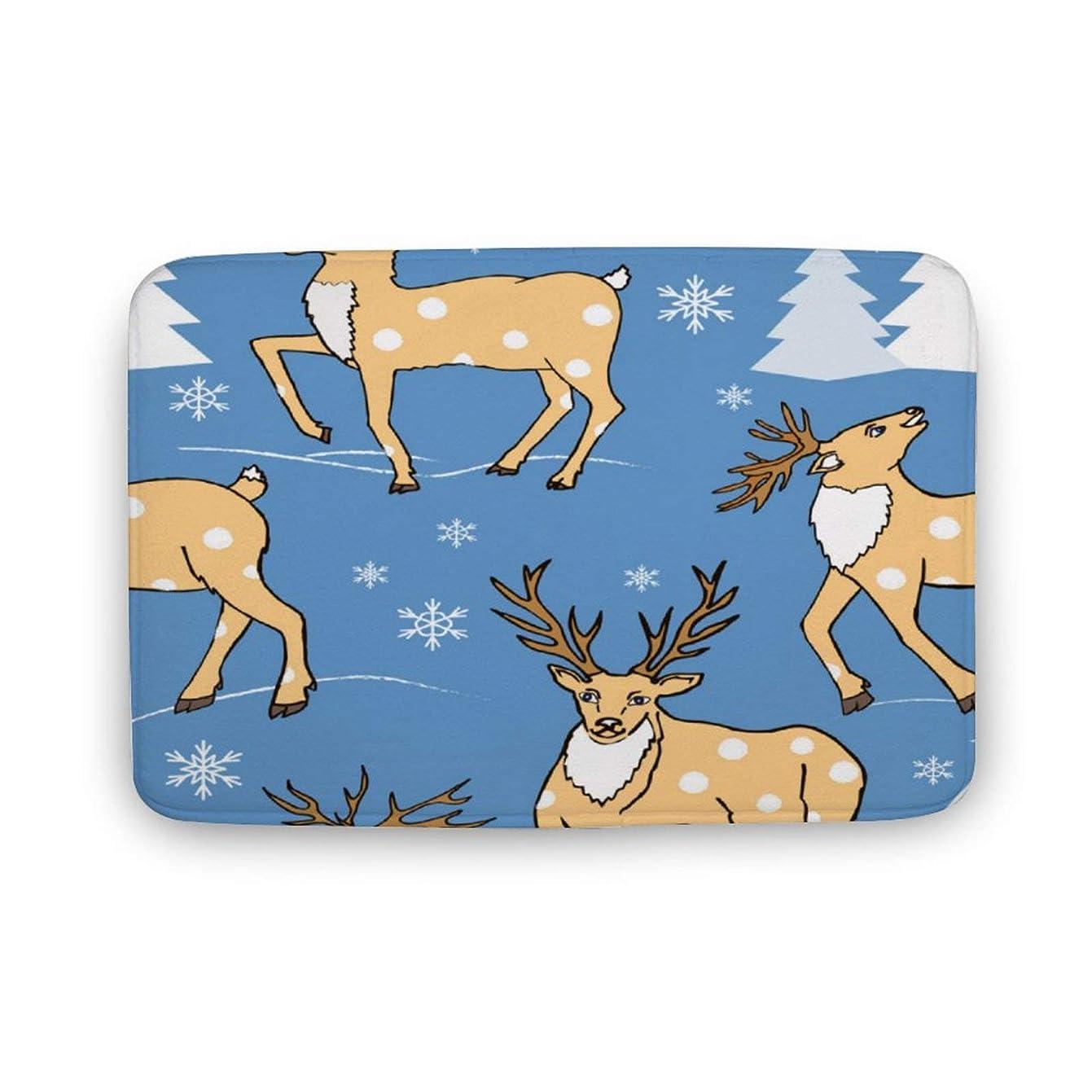 ギャザー肖像画上に築きます冬の森とかわいい鹿 ノンスリップドアマット敷物床マット屋内屋外寝室リビングルームキッチン 2サイズ
