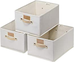 "Large Storage Bins Baskets 3 pack - 15.7x11.8x8.3""Foldable Sturdy Storage Basket with Handle,Decorative Storage Boxes for ..."