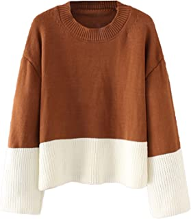 Romwe ROWME Women's Color Block Two Tone Ribbed Drop Shoulder Long Sleeve Knit Pullover Sweater