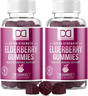 Elderberry Gummies with Zinc, Vitamin C for Adults, Kids for Immune Support Booster..