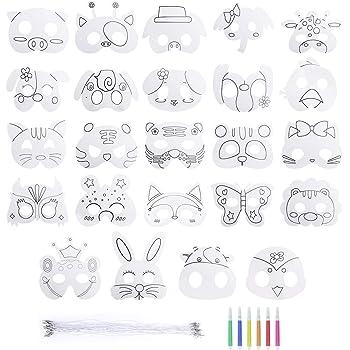 Heveer Masques Pour Enfants Animaux Artisanat Carte Blanche Masques A Colorier Masque Cosplay Avec Corde Elastique Pour Costume Carnaval Fantaisie Fete 24 Pieces Amazon Fr Jeux Et Jouets