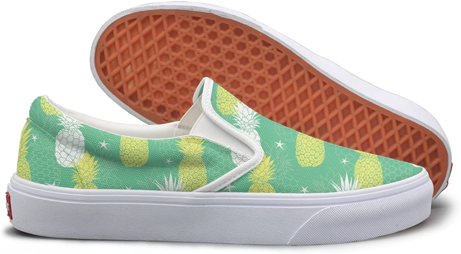 Mint Green And Yellow Pineapples And Stars Youth Sneakers Mesh