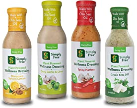 Simply Free (Mixed 4-Pack) Plant Based Wellness Salad Dressing, Vegan, Low Calorie, Low Fat, No Added Sugar, Dairy-Free, O...