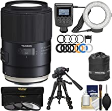 Tamron SP 90mm f/2.8 Di VC USD Macro 1:1 Lens with Ring Light + Macro Tripod + 3 UV/CPL/ND8 Filters + Pouch + Kit for Canon EOS Cameras