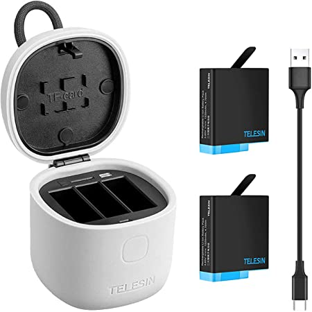 TELESIN Battery Charger for GoPro Hero 9 Black Charger + 3 x Batteries Portable Charger 3-Channel Battery Charging Storage with 3 Pack Rechargeable Hero 9 Batteries