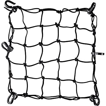 "Stretches to 35 with 6 Adjustable Iron Hooks 2Pcs Sdootauto Motorcycle Cargo Net Black 12/"" x 12/"" Heavy Duty Cargo Net Motorcycle"