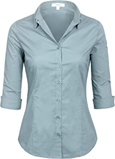 KOGMO Womens Classic Solid 3/4 Sleeve Button Down Blouse Dress Shirt (S-3X)