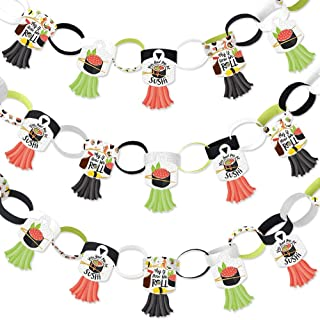 Big Dot of Happiness Let's Roll - Sushi - 90 Chain Links and 30 Paper Tassels Decoration Kit - Japanese Party Paper Chains Garland - 21 feet
