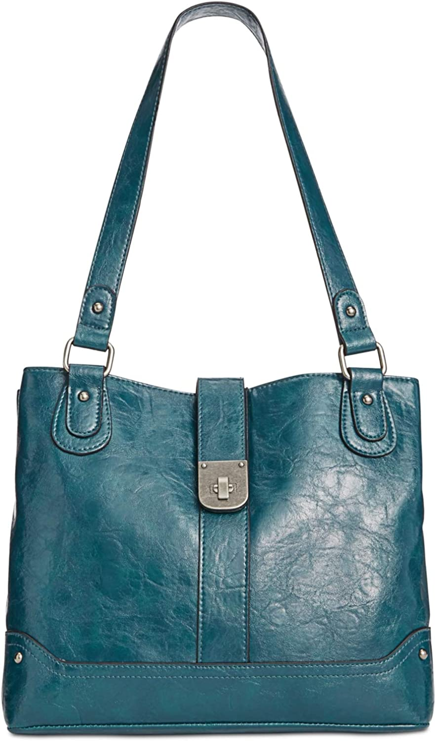 Style & Co. Twistlock Tote (bluee)