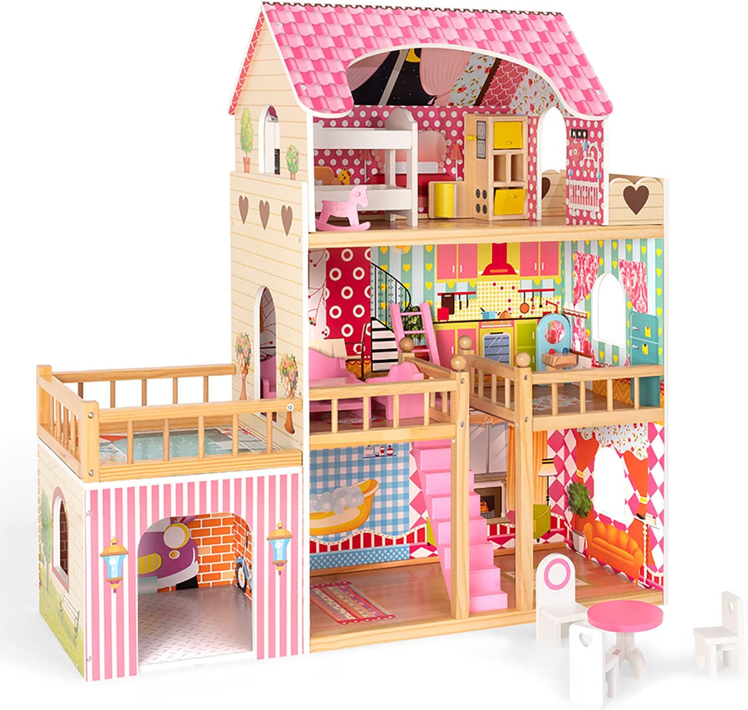 ROBUD Wooden Dollhouse with Furniture Max 90% OFF Set Denver Mall Play House Gift Doll