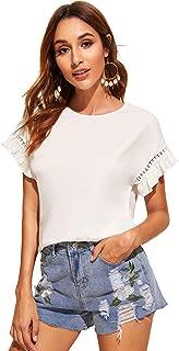 Floerns Women's Causal Ruffle Short Sleeve Shirt Blouse Top