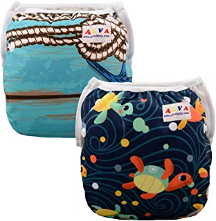 ALVABABY Swim Diapers Reuseable Washable Adjustable 0-36 mo.For Infants Toddlers Boys Girls 2 Pack One Size Swimming Lesson Baby Shower Gifts SWD25-26-CA