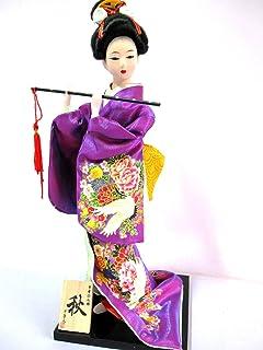 舞踊・舞妓 日本人形 秋 12インチ(30cm) 日本のお土産 外国人へのプレセント パープル