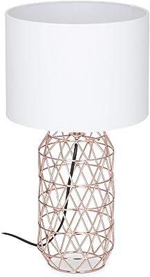 Relaxdays 10024792 Table Socle Grille métal Lampe de Chevet Abat-Jour Tissu HxD: 45 x 25 cm, Blanc/Rose-Or