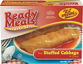 Kosher Meat Meals Ready to Eat, Kosher Beef Stuffed Cabbage Rolls in Gravy (Microwavable, Shelf Stable) – Gluten Free, Dairy Free, Soy Free, Egg Free, Glatt Kosher (12 oz, Pack of 1)
